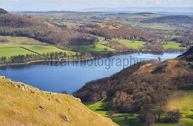 Views of Ullswater Lake and Watermillock in the English Lake District countryside, UK.