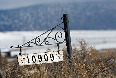 House number sign in the Lower Klamath NWR, California