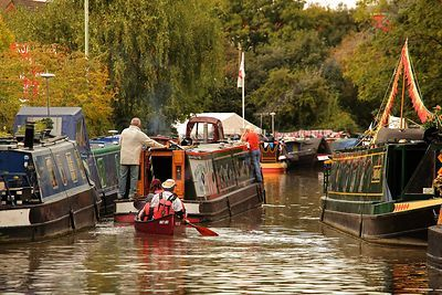 Narrowboats and Canoe at the Bancury Canal Day