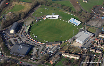 aerial photograph of the County Cricket Ground, Derby Derbyshire England UK