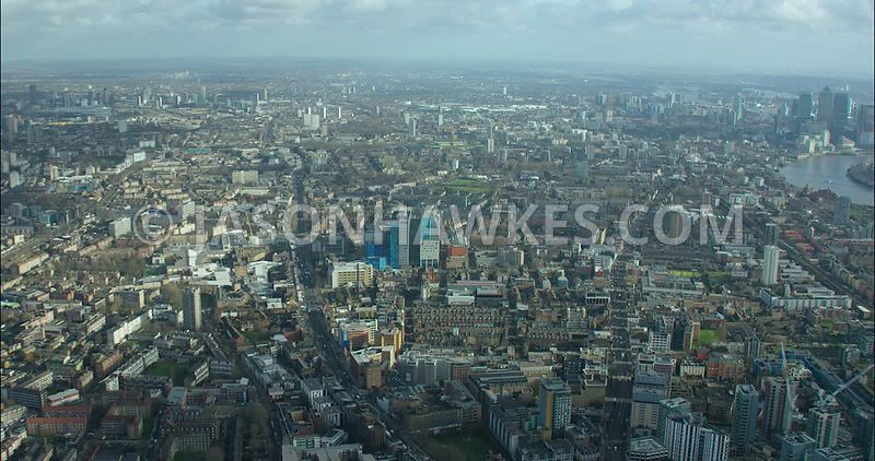 London Aerial footage, Whitechapel with The Royal London Hospital.