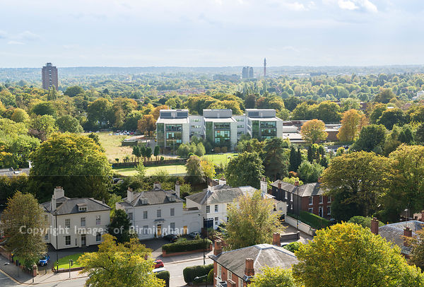 View over Edgbaston and Birmingham City University campus, Birmingham, England