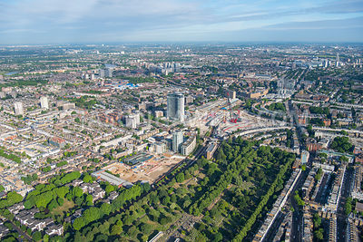 Aerial view of London, Brompton Cemetery with Earl's Court redevelopment.