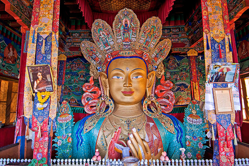 This photograph of a Buddha idol was shot in Leh.
