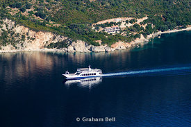 Ferry boat going from Nidri on Lefkas to Ithaca/kefalonia, Meganisi straights, Lefkas, Ionian Islands, Greece.