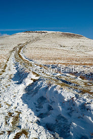 path leading to summit of sugarloaf mountain abergavenny brecon beacons national park wales uk