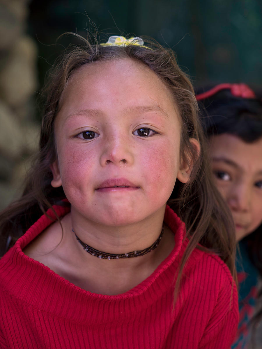 This portrait of a young Ladakhi girl was taken in a small village in Ladakh.