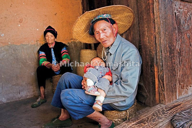 In the Mongolian tradition elders stay at home to care for the children.
