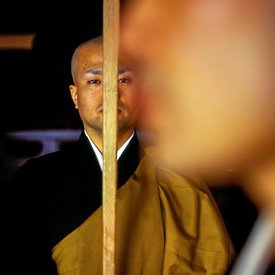 A Zen monk of the Soto School with a koyasaku at the Seiryu-ji Temple