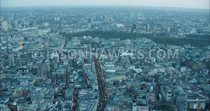 London Aerial Footage Regent Street and Hanover Square.