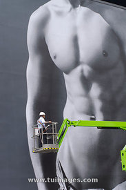 naked male body advertisements board of Abercrombie & Fitch in singapore, for sex sells concepts