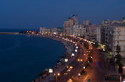 the Corniche at the mediterranean coast, Alexandria, Egypt