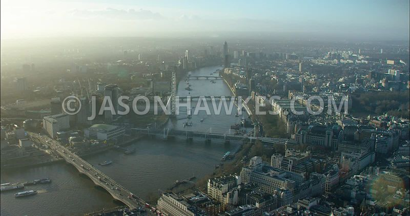 London Aerial footage, River Thames from Waterloo Bridge towards Westminster Bridge.