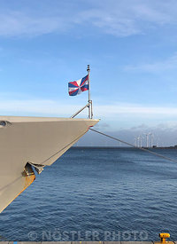 The Navy jack of the Royal Netherlands Navy on HNLMS Tromp (F803)