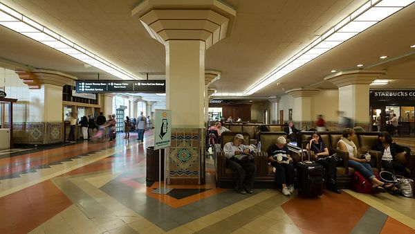 Medium Shot: Subtle Motion In Union Station's Arrival & Departure Lobby