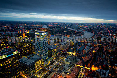 Night aerial view Canary Wharf, London.