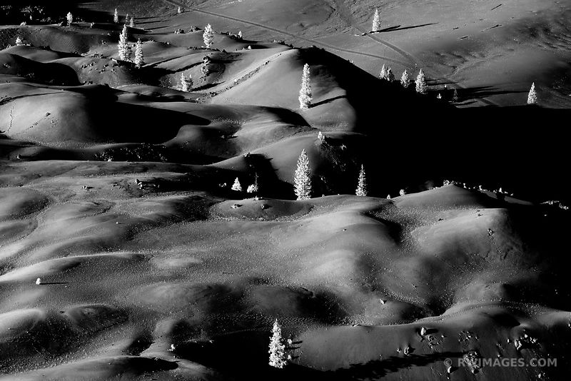 PAINTED DUNES LASSEN VOLCANIC NATIONAL PARK CALIFORNIA BLACK AND WHITE