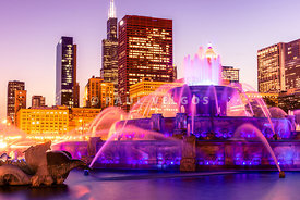 Chicago at Night with Buckingham Fountain