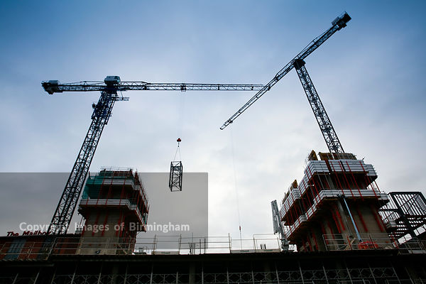 Hydraulic crane being constructed, The Cube Building