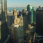 View looking northeast of downtown Chicago including the Trump International Tower and the Wrigley Building, Chicago, Illinois, USA