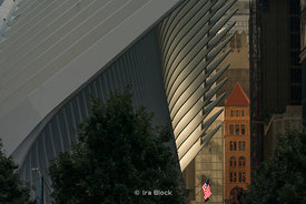 Light play on the Oculus near World Trade Center in Lower Manhattan in New York City.