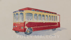 Trolley, original watercolor illustration, unframed