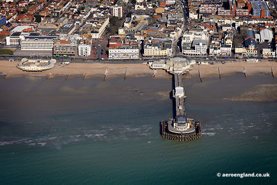 aerial photograph of Worthing Pier West Sussex, England UK