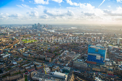 Aerial view of East London, Whitechapel, towards Stepney with Whitechapel Road and Commercial Road.