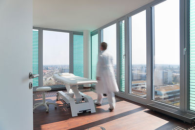 Blurred view of doctor in office