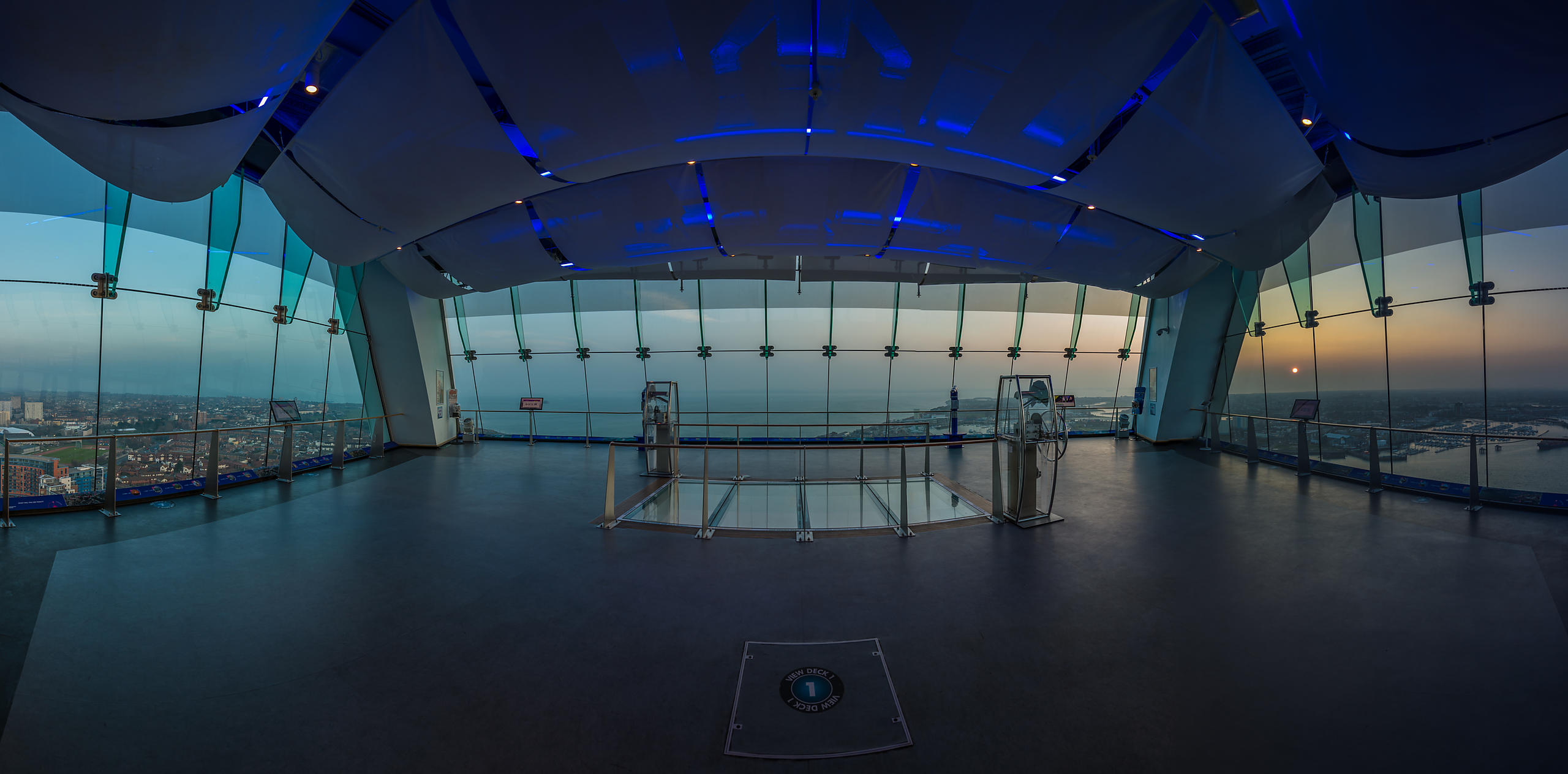 Panoramic View of the Spinnaker Tower View Deck One at Sunset