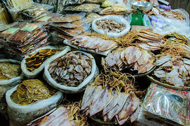 Dried Squid and Fish for Sale at Market