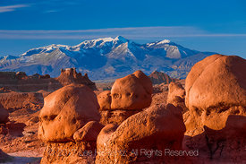 Sandstone Hoodoos In Goblin Valley State Park with Henry Mountains Distant
