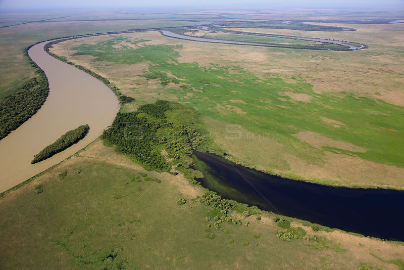 Aerial view of the meandering Saint George branch of the Danube river, Danube Delta Biosphere Reserve UNESCO World Heritage Site, Romania, May 2014.