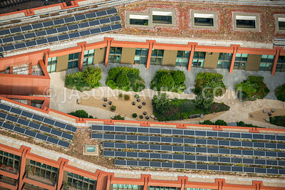 Aerial view of London, Kings Cross, apartment block roof close up.