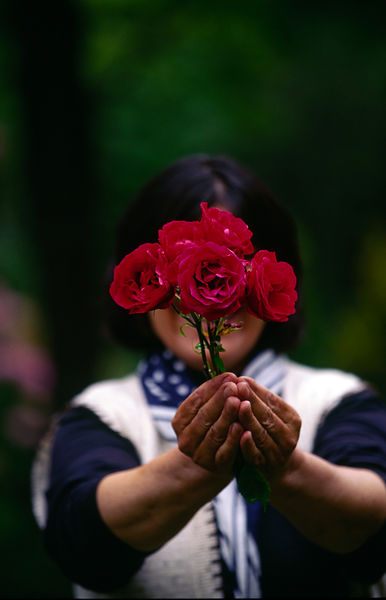 A refugee hides her identity with a rose