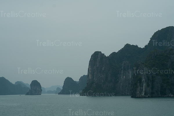 Scenic views of cliffs in Halong Bay, Vietnam
