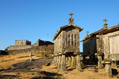 Espigueiros, the old and traditional stone granaries of Lindoso. Peneda Geres National Park, Portugal (MR)