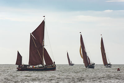Thames sailing barges tacking