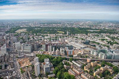 Aerial view of London, Paddington Basin and Paddington Station.