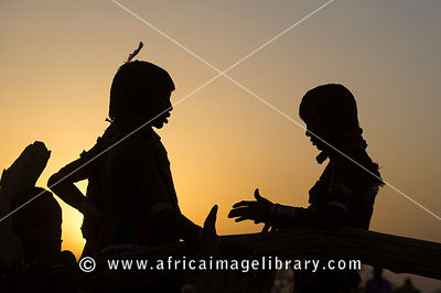 Hamer women at sunset, Turmi, South Omo Valley, Ethiopia