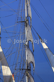 Sails of a square rigged sailship