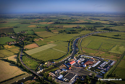 aerial photograph of Potter Heigham and the river Thurne on the Norfolk Broads England UK