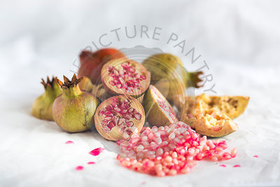 pomegranates still life, with pomegranate seeds, on white background