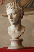 "Marbel bust of Augustus wearing crown. ""Portraits. The Many Faces of Power"" Exhibition"