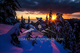 Sunset from Mount Seymour overlooking the Straight of Georgia, Vancouver, BC. Photo: Mitch Winton - coastphoto.com