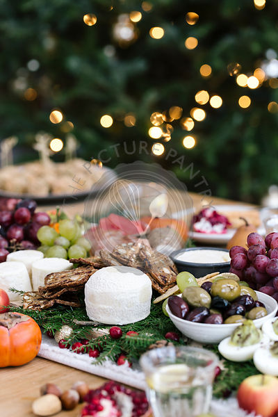 Holiday cheese and savoury sharing selection