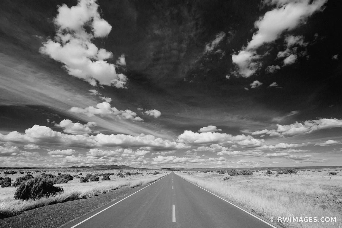 DRIVING TURQUOISE TRAIL ROAD NEW MEXICO BLACK AND WHITE AMERICAN SOUTHWEST LANDSCAPE