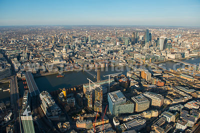 Aerial view of the South Bank and City of London
