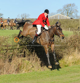 Nicholas Leeming jumping a hedge near Knossington village