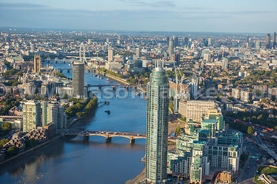 Aerial view of St George Wharf Tower, London